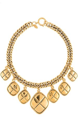 CHANEL Rhombus charms chain necklace