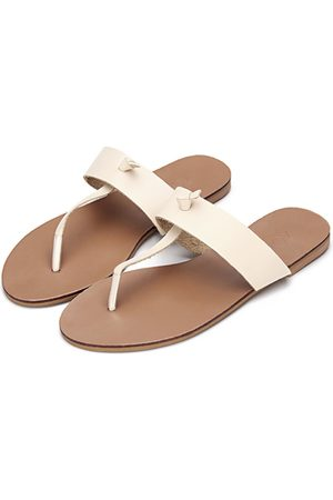 YOINS Women Flats - Apricot Leather Look Simple Style Flat Sole T-bar Strap Slippers