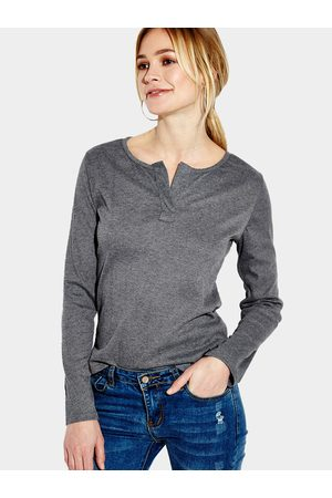 YOINS Dark Plunge Casual Design Blouse with Long Sleeves