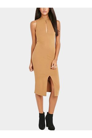 YOINS Women Bodycon Dresses - Sleeveless High Neck Bodycon Midi Dress