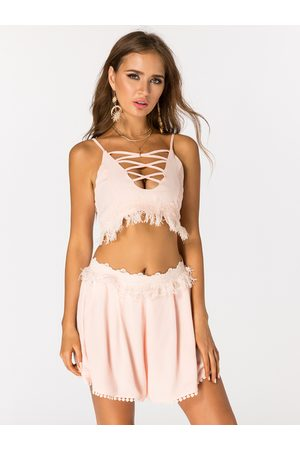 YOINS Women Sets - Sexy Crop Top & Crochet Shorts Co-ord