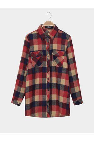 YOINS Women Blouses - Check Long Sleeve Shirt