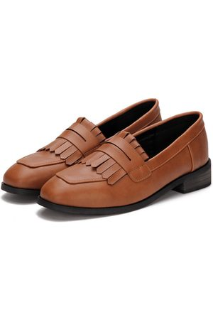 YOINS Leather Look Fringed Toe Chunky Heel Slip-on Loafers