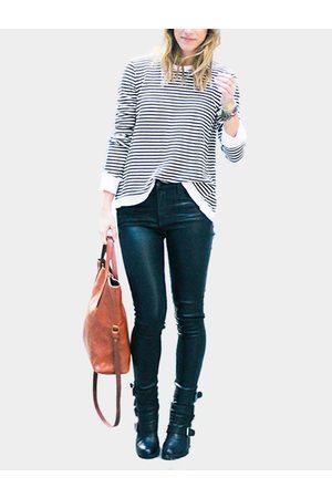 YOINS And White Stripe Pattern T-shirt