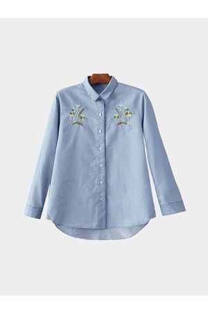 YOINS Casual Loose Long Sleeves Embroidery Pattern Buttons Details Shirt