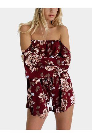 YOINS Vintage Floral Print Off shoulder Long Sleeve Playsuit With Drawstring