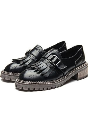 YOINS Leather Look Round Toe Tassel and Buckle Slip-on Loafers