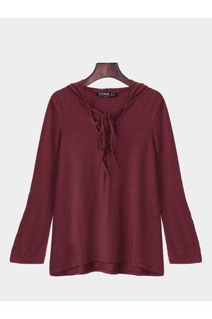 YOINS Wine Lace Up Hanky Hem Shirt