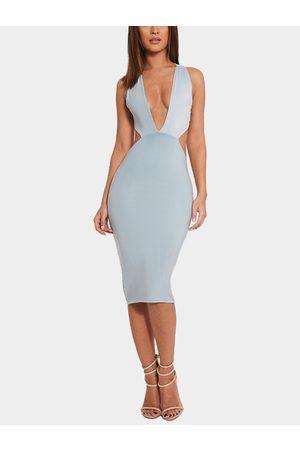 YOINS Plunge V-neck Cross Strap Sleeveless Midi Dress in Light-blue