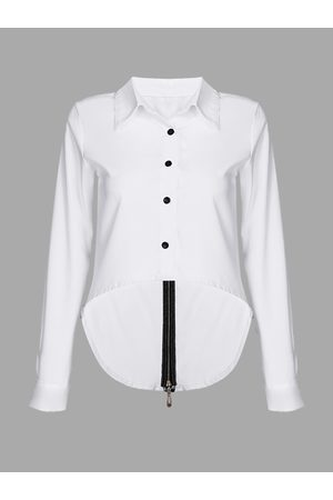 YOINS Black Buttons Long-sleeved Shirt with Back Split