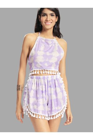 YOINS Fantasy Colour Pattern Self-tie Crop Top & Sides Slit Co-ord with Tassels Trim