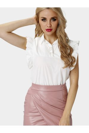 YOINS Frilled One Button Tank with Point Collar