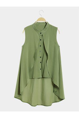 YOINS Irregular Hem V Neck Sleeveless Buttons Details Shirt