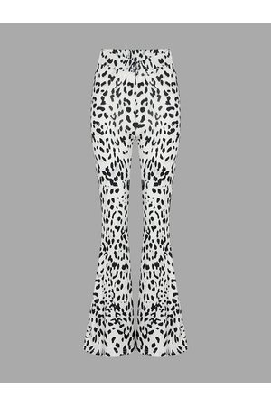 YOINS Flare Trousers With Leopard Print