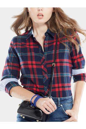 YOINS Red English Collar Grid Pattern Long Sleeves Shirt