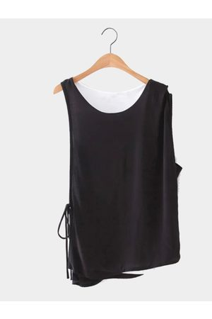 YOINS And White Double Layer Sleeveless Top
