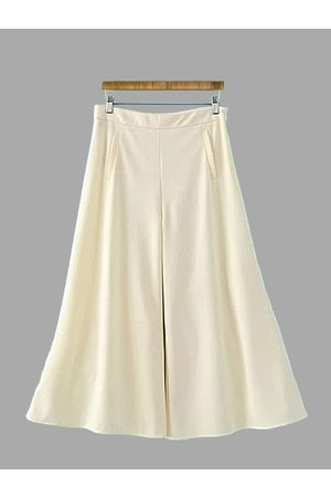 YOINS Pleated Chiffon Wide Leg Trousers with Pockets