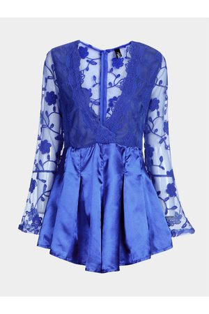 YOINS Plunge See-through Lace Insert Playsuit with Long Sleeves