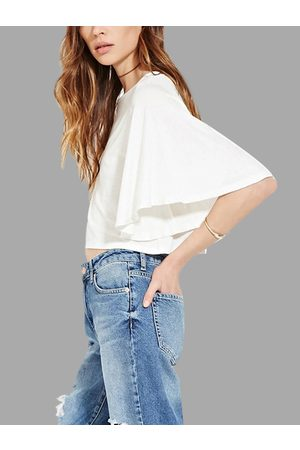 YOINS Round Neck Blouse with Flared Sleeves
