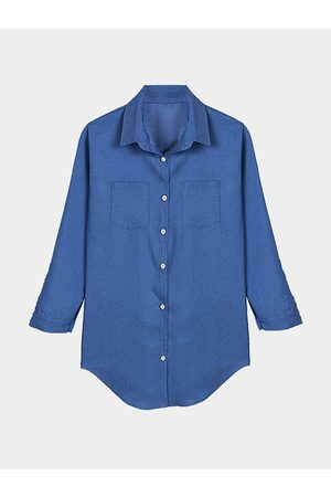 YOINS Long Sleeve Curved Hem Shirt with Buttons