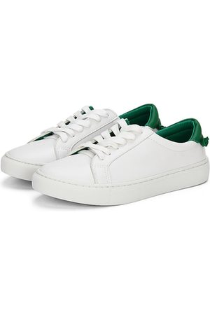 YOINS Casual Leather Look Lace-up Sneakers with Green Back Part