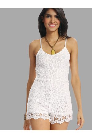 YOINS White Lace Cami Rompers