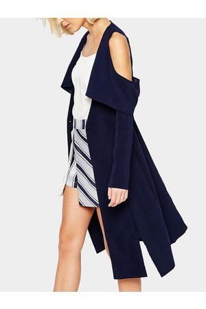 YOINS Long Sleeves Cold Shoulder Casual Long Coat