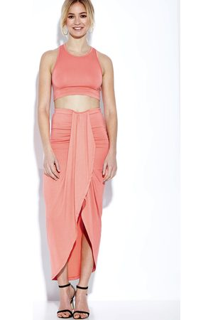 YOINS Sleeveless Crop Top and Wrap Front Maxi Skrit Co-ord