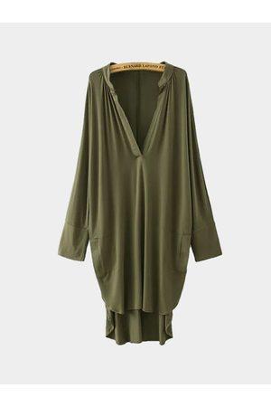YOINS Asymmetric V Neck Dress