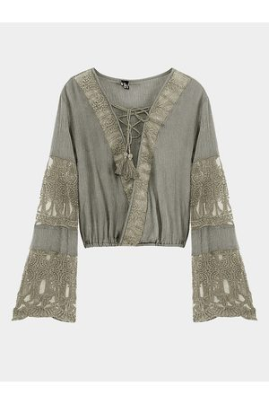 YOINS Lace-up Flared Sleeves Top