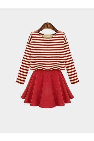YOINS Striped Long Sleeve Top With Cami Dress Set