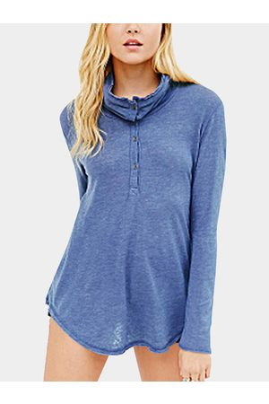 YOINS Simple Long Sleeves Irregular Hem Shirt