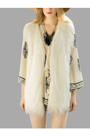YOINS White Fashion Sleeveless Artificial Fur Coat