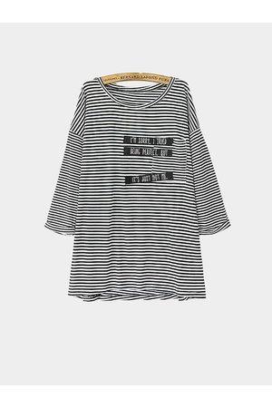 YOINS Stripe Letter Print Long Sleeve Top