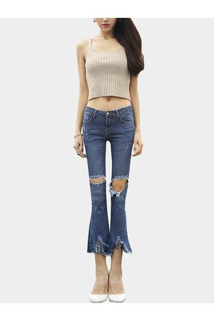 YOINS Sexy Middle-waist Rips Details Flared Trousers