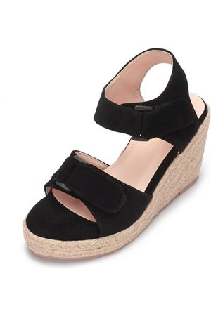 YOINS Double Buckle Straps Woven Wedge Sandals