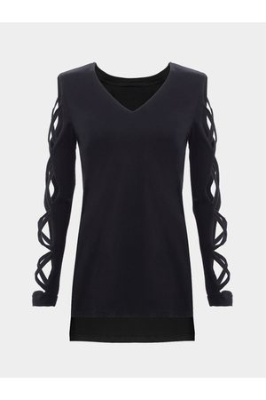 YOINS Long Sleeves T-shirt with Strappy Details