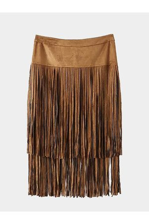 YOINS Tiered Fringed Suedette Skirt in