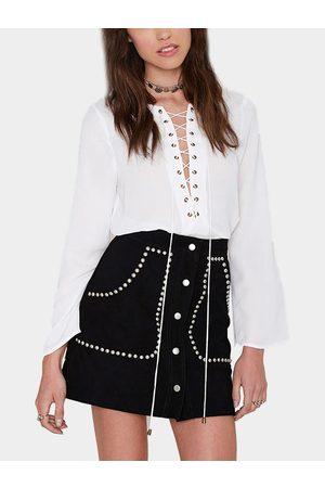 YOINS Suede Studded Mini Skirt