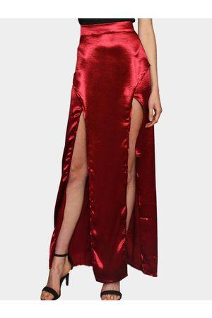 YOINS Silky Satin Front Slit Sexy Maxi Skirt