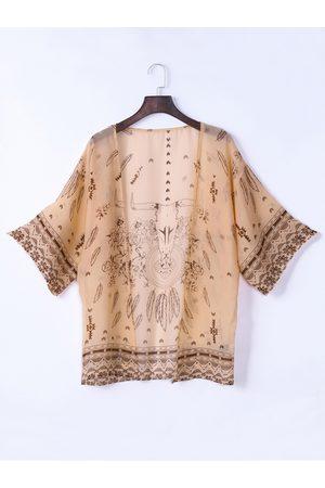 YOINS Bohemian Print Long Sleeve Chiffon Kimono