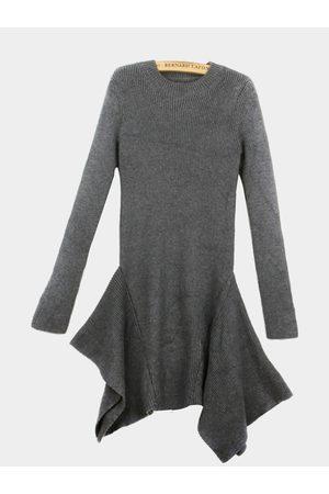 YOINS Long Sleeve Asymmetric Dress In Knit