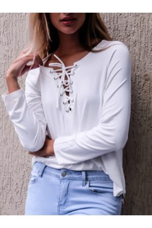 YOINS Casual Lace-up Curved T-shirt