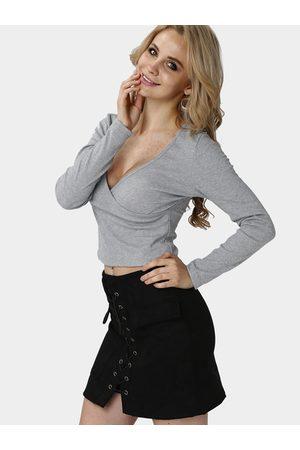 YOINS Women Long Sleeve - Sexy V-neck Long Sleeves Bodycon Crop Shirt