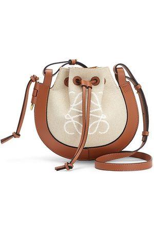 Loewe Small Horseshoe Leather-Trimmed Canvas Saddle Bag