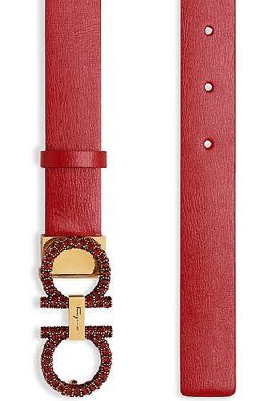 Salvatore Ferragamo New Gancini Jeweled Buckle Leather Belt