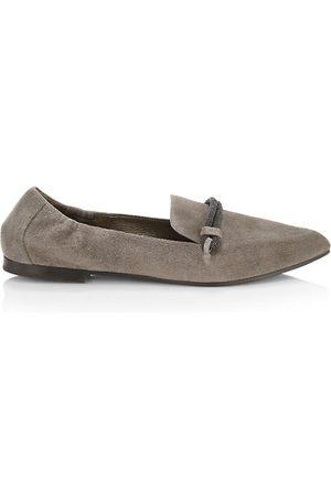 Brunello Cucinelli Loafers - Monili-Strap Suede Loafers