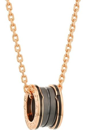BVLGARI B.zero1 18K Rose & Ceramic Pendant Necklace