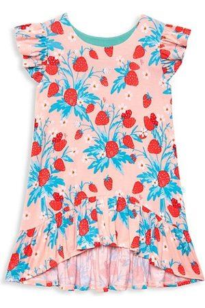 Posh Peanut Girls Printed Dresses - Little Gir's & Girl's Strawberry Printed Ruffled Cap-Sleeve High-Low Dress