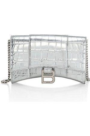 Balenciaga Handbags - Metallic Crocodile-Embossed Leather Shoulder Bag